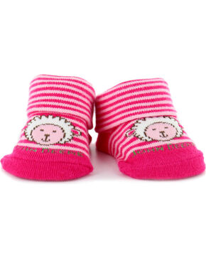 John Deere Infant Girl's Sheep Sock Booties, Pink, hi-res