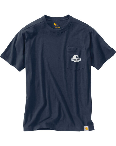 Carhartt Men's Navy Maddock Block Lettering Pocket Tee - Tall , Navy, hi-res