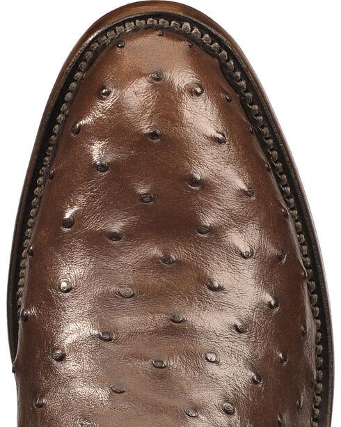 Lucchese Men's Dark Brown Luke Full Quill Ostrich Boots - Medium Toe , Dark Brown, hi-res