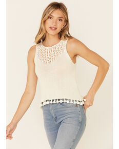 Very J Women's Open Weave Front Sweater-Knit Tank Top, Ivory, hi-res