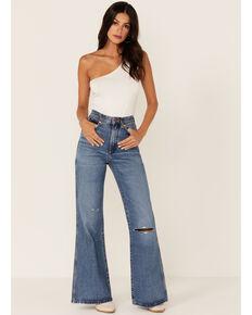 Wrangler Women's Retro Heritage Wanderer Medium Wash High Rise Flare Jeans, Blue, hi-res