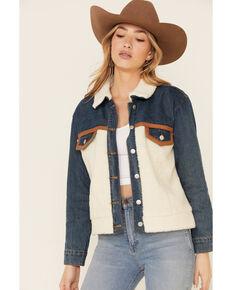 Hem & Thread Women's Contrast Denim Sherpa Button-Down Jacket , Blue, hi-res
