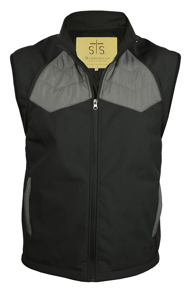 STS Ranchwear Men's Carson Convertible Vest/Jacket, Black, hi-res