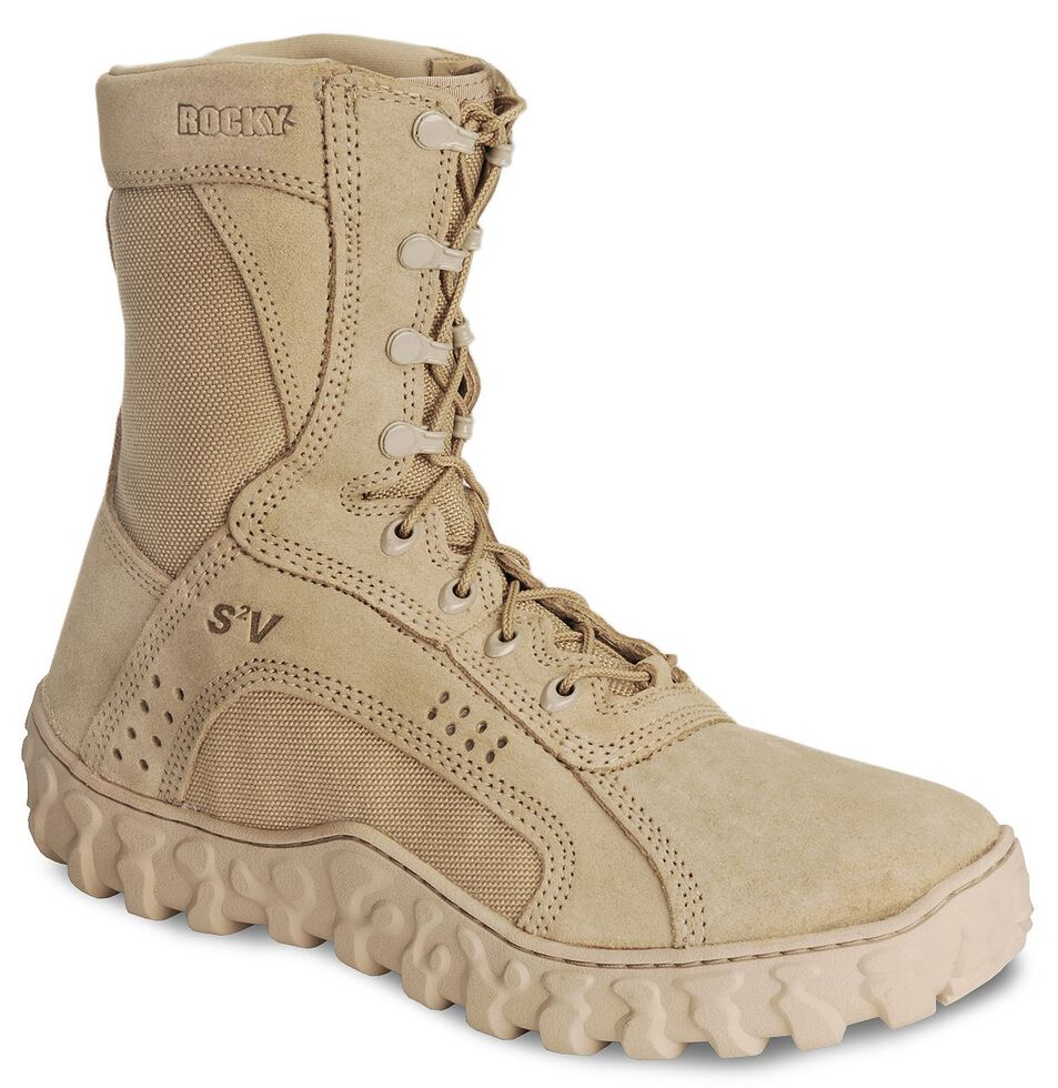 """Rocky S2V Vented 8"""" Lace-Up Military Boots - Round Toe, Tan, hi-res"""