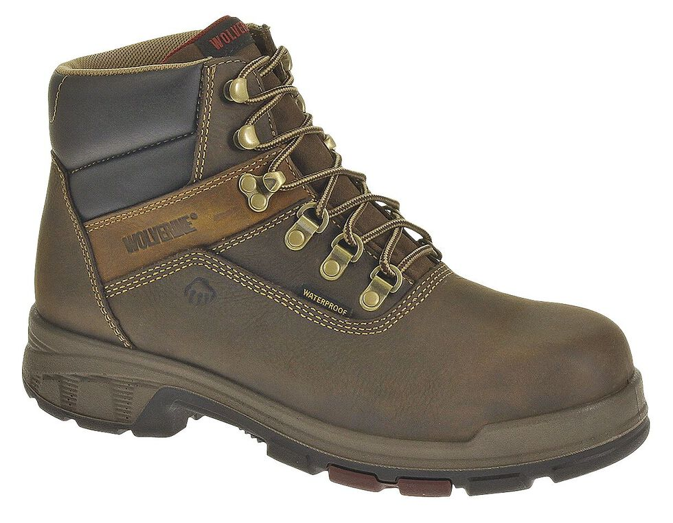 "Wolverine Cabor 6"" Waterproof Work Boots - Composite Toe, Coffee, hi-res"