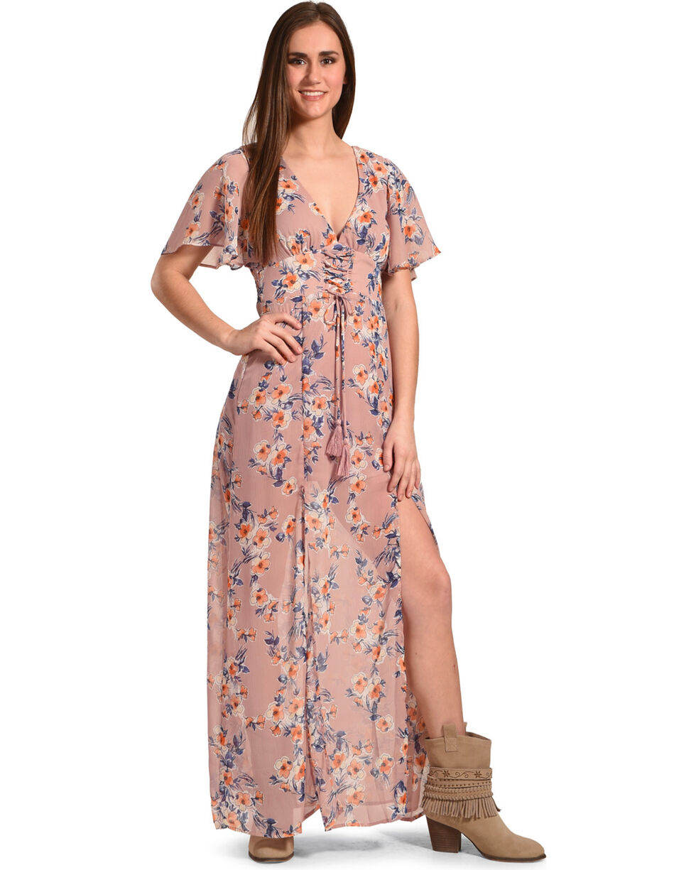 Flying Tomato Women's Floral Print Chiffon Maxi Dress, , hi-res