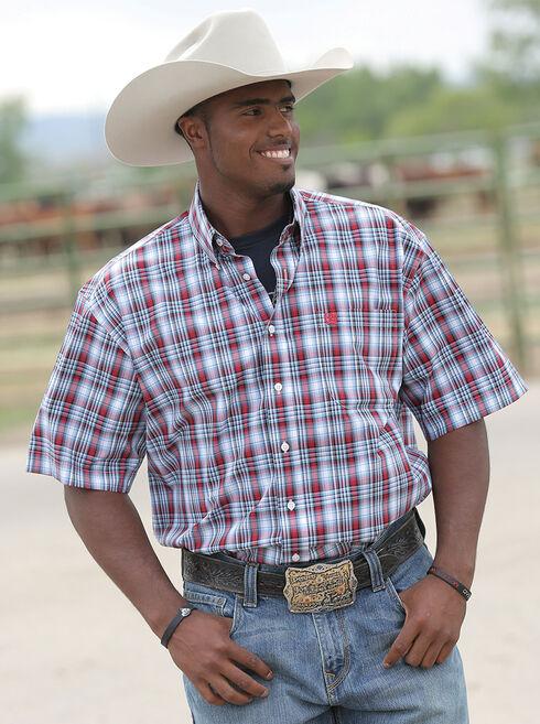 Cinch Men's Red & Blue Plaid Short Sleeve Shirt, White, hi-res