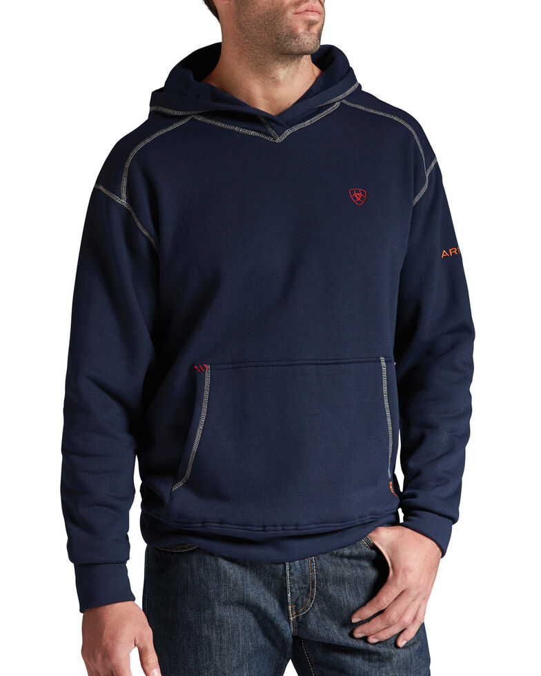Ariat Men's Flame-Resistant Navy Polartec Hooded Work Sweatshirt , Navy, hi-res