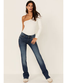 Wrangler Medium Wash Tan Stitch Mid Rise Bootcut Jeans, Blue, hi-res