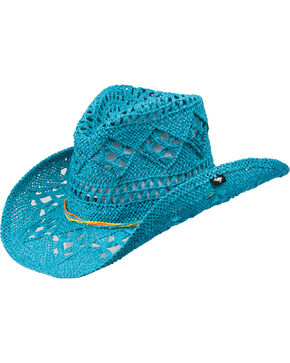Peter Grimm Ariel Turquoise Straw Cowgirl Hat, Turquoise, hi-res