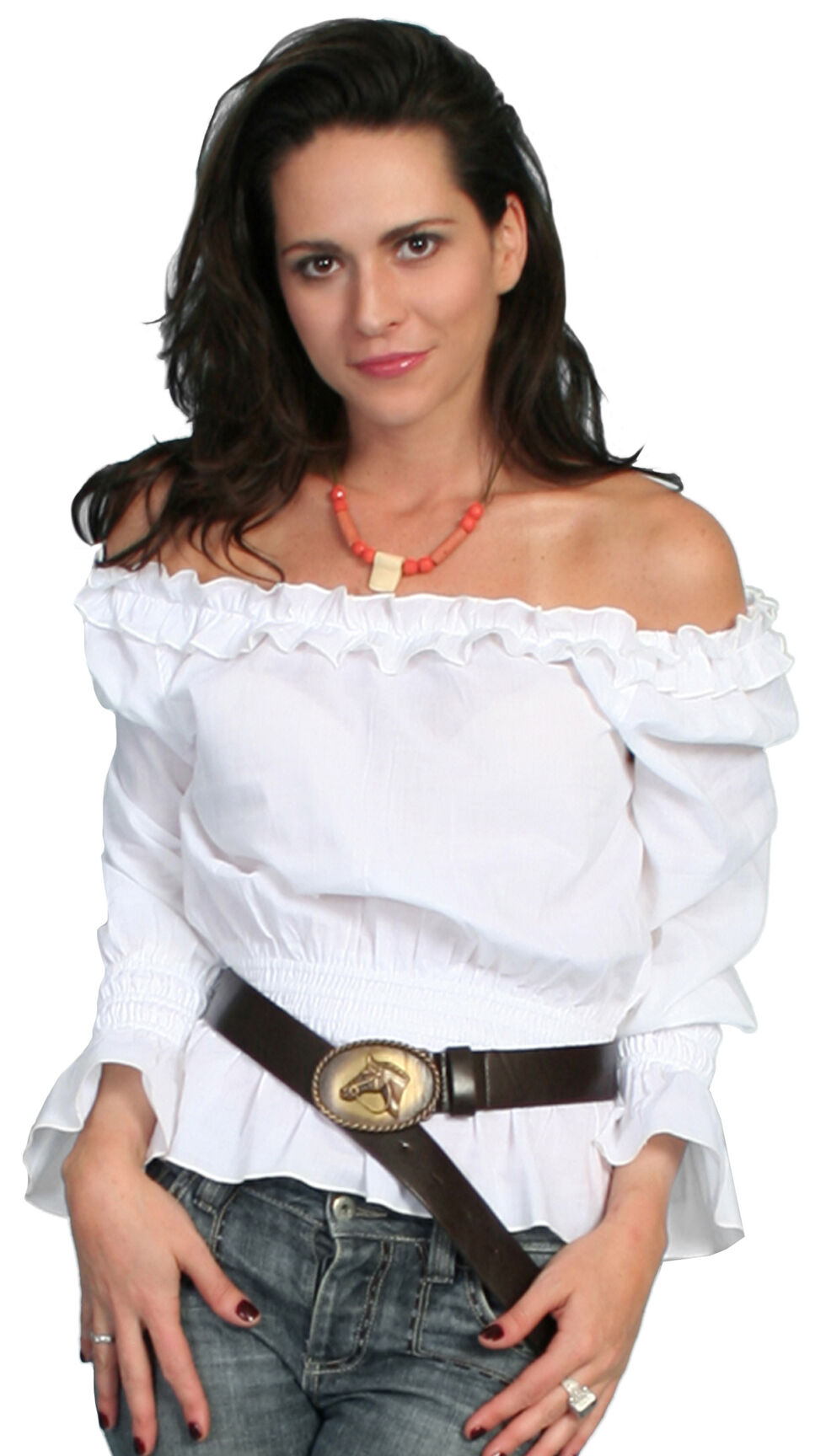 Scully Off-the-Shoulder Peasant Top, White, hi-res