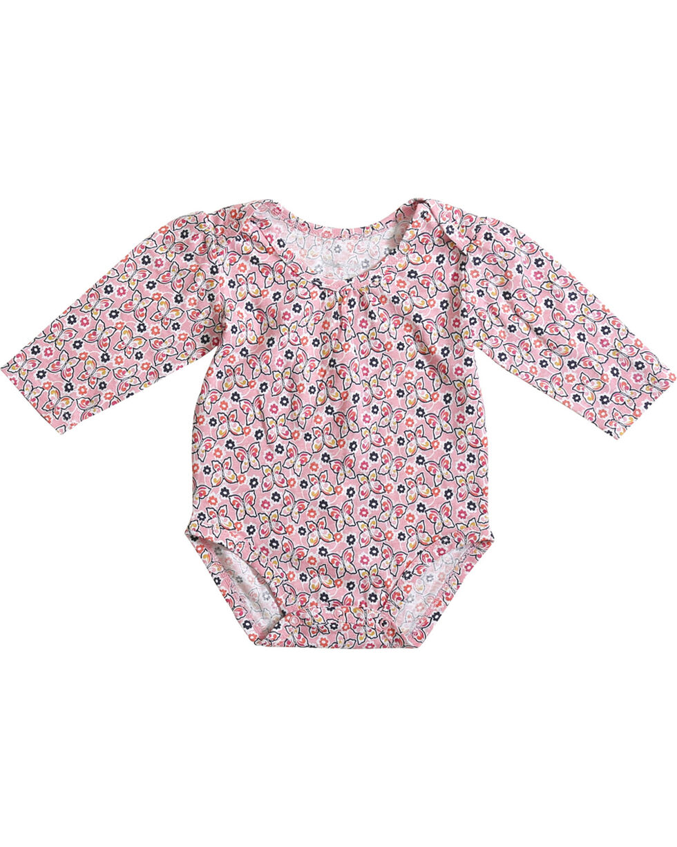 Wrangler Infant Girls' Pink Butterfly Print Long Sleeve Onesie, Pink, hi-res