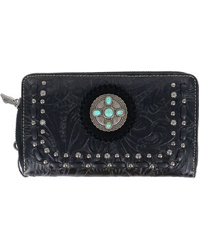 Trinity Ranch Women's Black Tooled Western Wallet , Black, hi-res