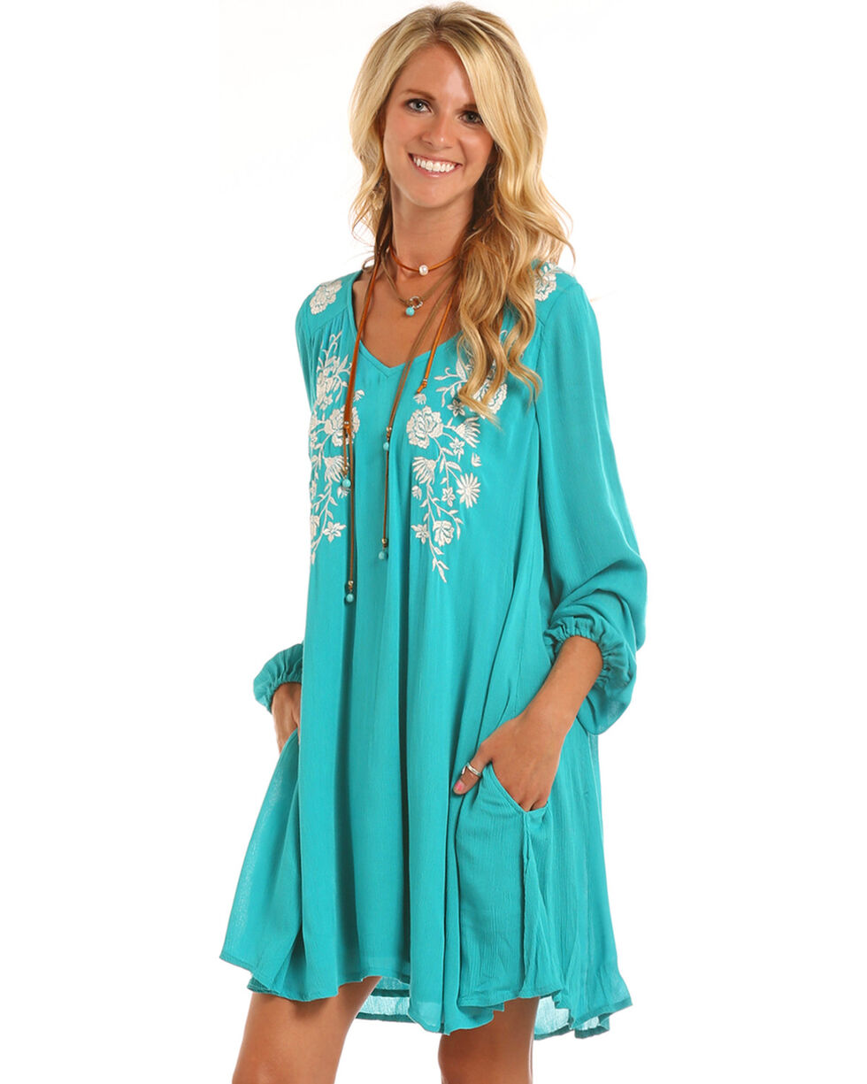 Rock & Roll Cowgirl Women's Teal Princess Seam Embroidered Dress , , hi-res