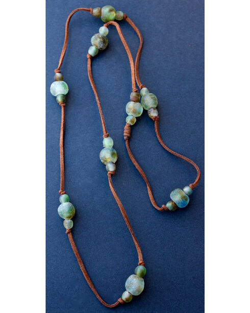 """2 Queen B's Women's Desert Babe 42"""" Knotted Camel Suede Ghana Bead Necklace, Green, hi-res"""