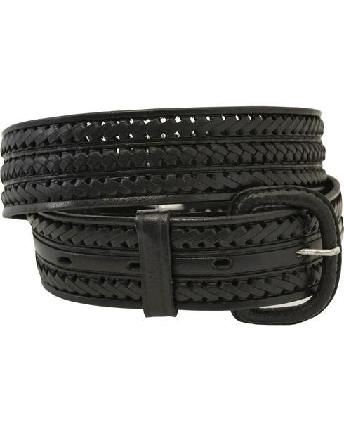 Western Express Men's Braided Leather Belt - Big, Black, hi-res