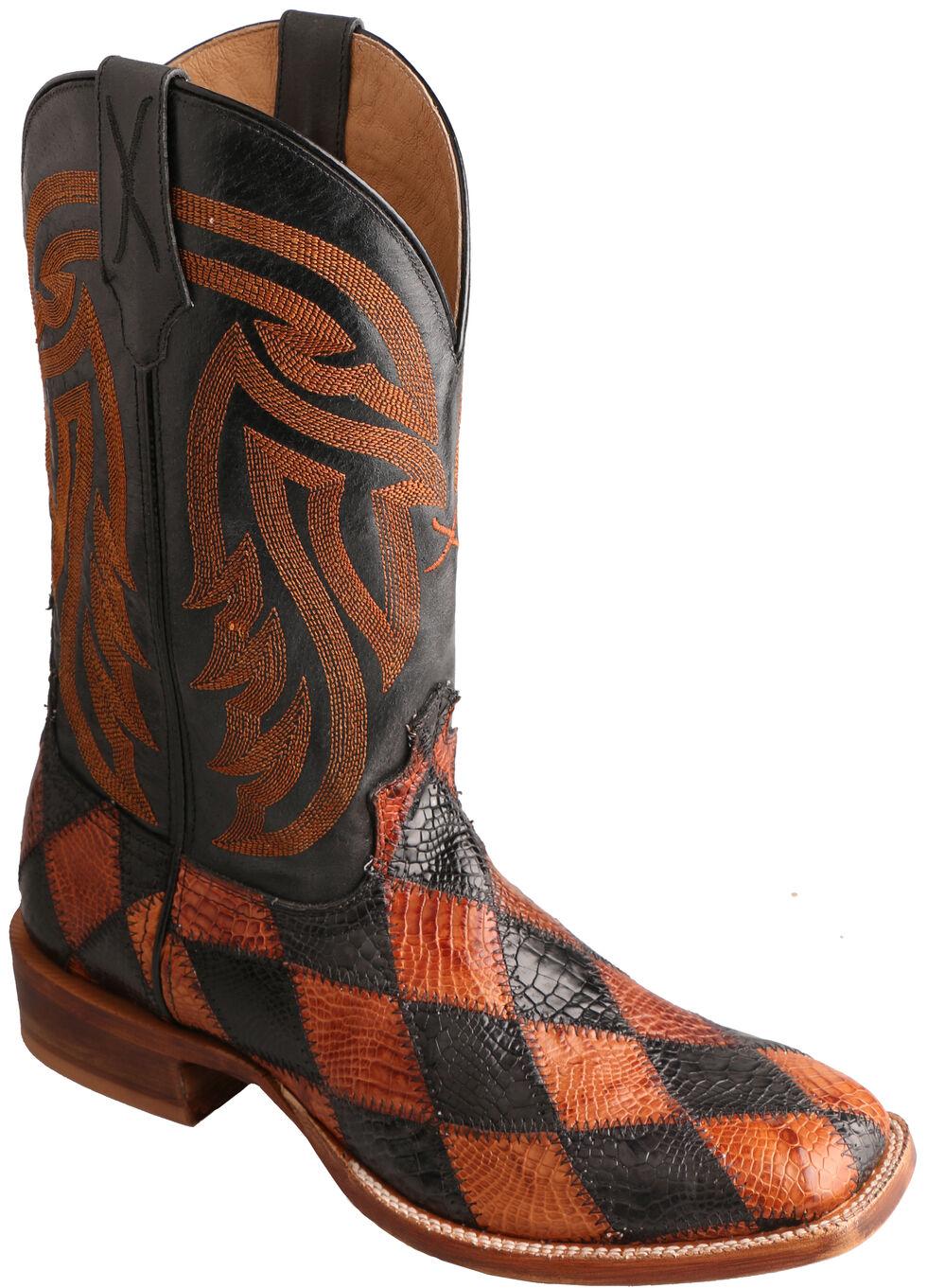 Twisted X Black & Peanut Caiman Rancher Cowboy Boots - Square Toe , Multi, hi-res