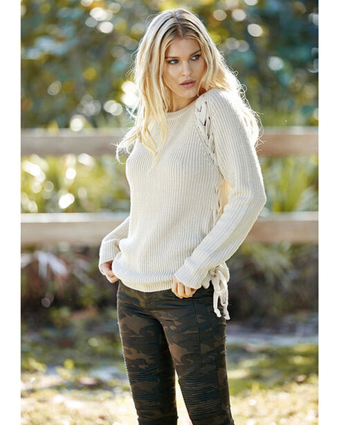 Elan Women's Oatmeal Lace Up Side Sweater , Oatmeal, hi-res