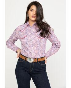 e2b99137e2fdb Rough Stock by Panhandle Womens Paisley Long Sleeve Western Shirt