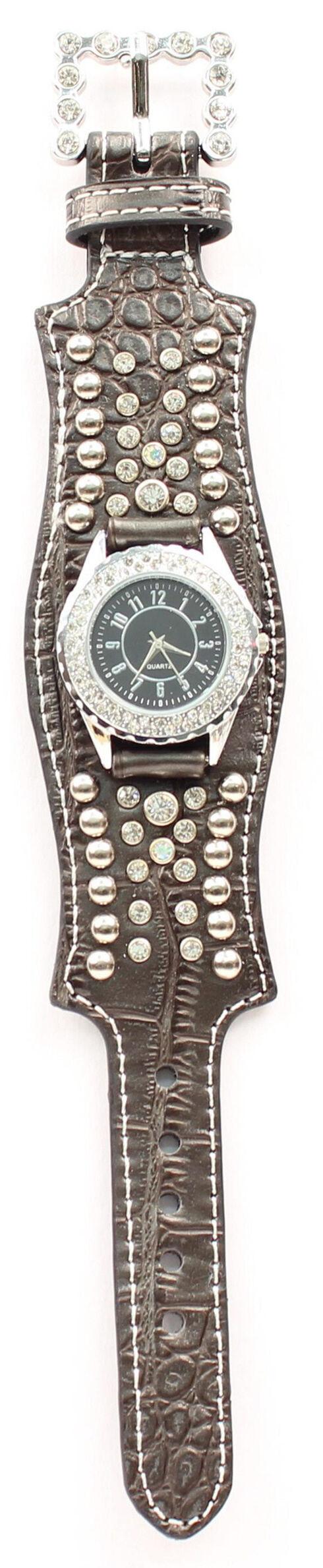 Scalloped Black Croc Print Crystal Watch, Black, hi-res