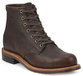 "Chippewa Men's 6"" Lace-Up Briar Pitstop Service Boots - Round Toe, Bark, hi-res"