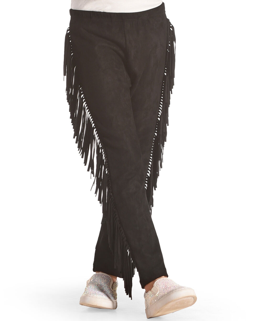 Idol Mind Girls' Faux Suede Fringe Legging, Black, hi-res