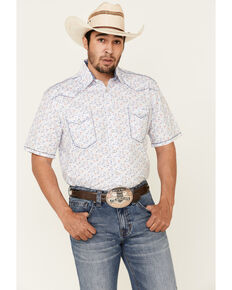 Rough Stock By Panhandle Royal Americana Print Short Sleeve Western Shirt , Royal Blue, hi-res