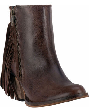 Dingo Women's Brown Izzy Booties - Round Toe , Brown, hi-res