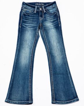Grace In LA Girls' Embroidered Detail Pocket Med Boot Jeans , Blue, hi-res