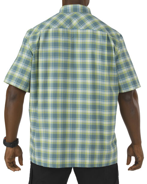 5.11 Tactical Covert Performance Short Sleeve Shirt, Green Plaid, hi-res