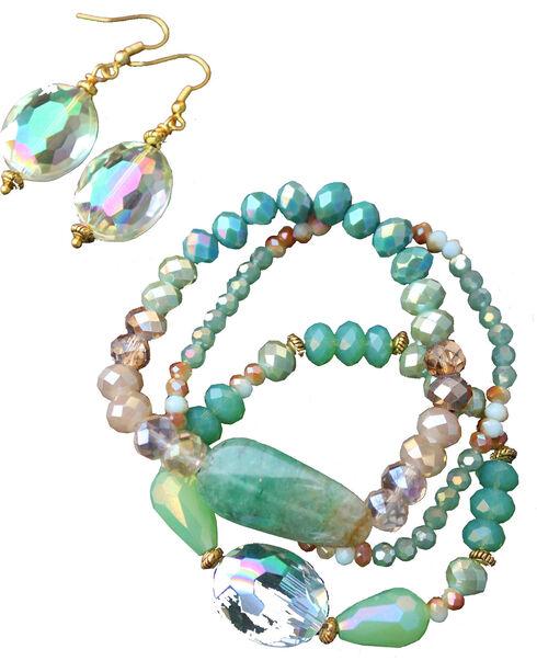 2 Queen B's Women's Emerald Bracelet and Earring Set , Green, hi-res