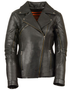 Milwaukee Leather Women's Long Length Vented Biker Leather Jacket, Black, hi-res