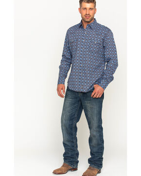 Wrangler Men's Blue Retro Premium Western Shirt , Blue, hi-res