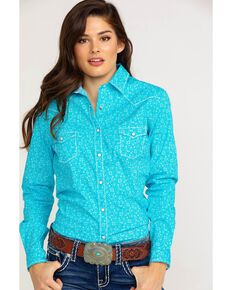 92c0a246 Panhandle Womens Portero Antique Print Long Sleeve Western Shirt ,  Turquoise, hi-res