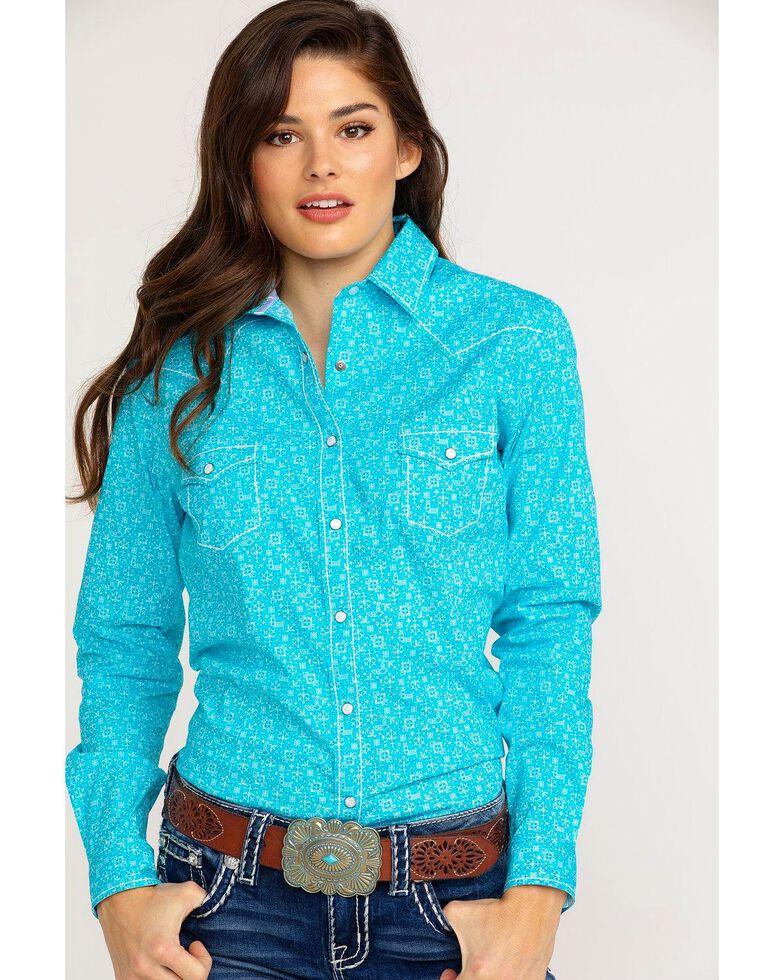 09063626 Zoomed Image Panhandle Women's Portero Antique Print Long Sleeve Western  Shirt , Turquoise, hi-res