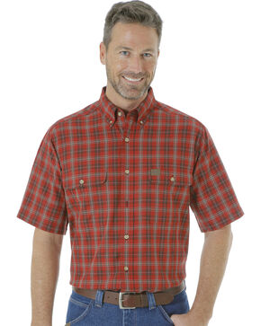 Wrangler Men's Riggs Workwear Foreman Plaid Work Shirt - Big and Tall , Wine, hi-res