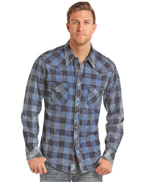 Rock & Roll Cowboy Men's Blue Gingham Twill Shirt, Indigo, hi-res