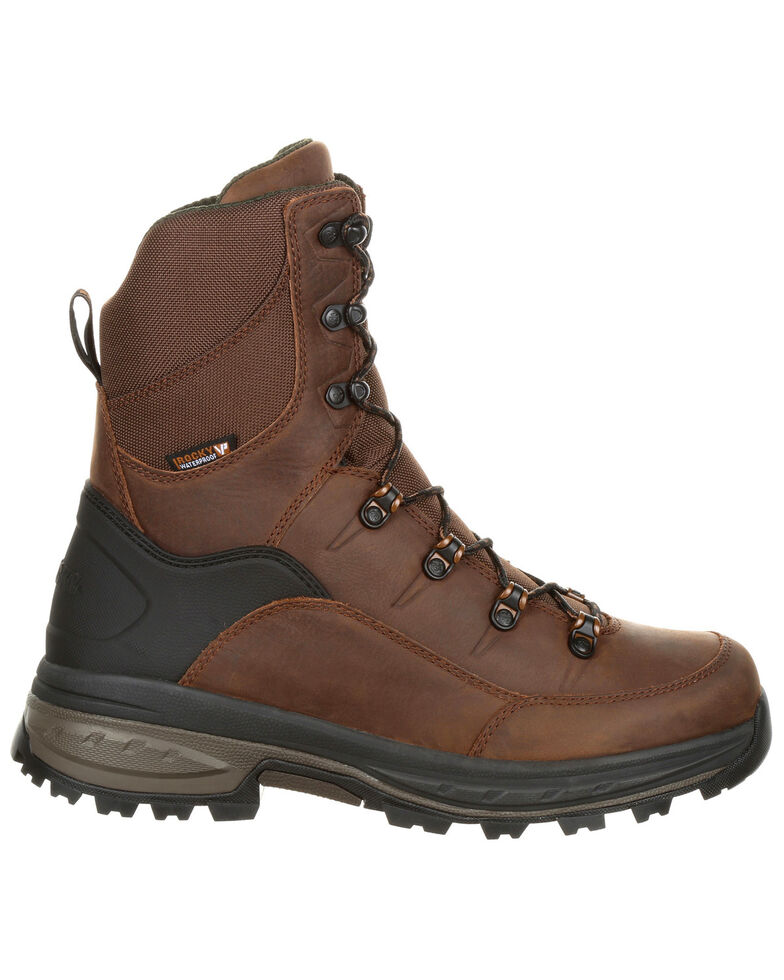 Rocky Men's Grizzly Waterproof Outdoor Boots - Round Toe, Dark Brown, hi-res
