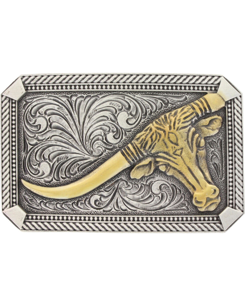 Montana Silversmiths Men's Silver Leaning Steer Belt Buckle , Silver, hi-res
