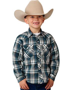 Roper Boys' Blue Snap-Down Plaid Shirt , Blue, hi-res