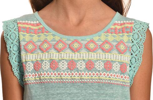 Derek Heart Girls' Blue Crochet Lace Flutter Sleeve Hi Lo Top with Puff Print, Blue, hi-res