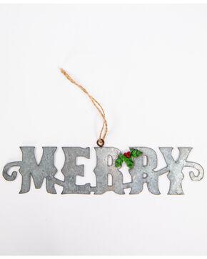 BB Ranch Galvanized Merry Cutout Ornament, Silver, hi-res