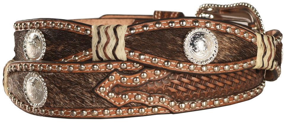 Nocona Scalloped Hair on Hide Basketweave Concho Leather Belt, Tan, hi-res