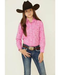 Panhandle Girls' Pink All-Over Horseshoe Print Long Sleeve Snap Western Shirt , Pink, hi-res
