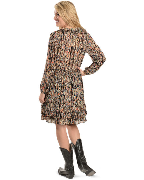 Scully Feather Print Dress, Black, hi-res