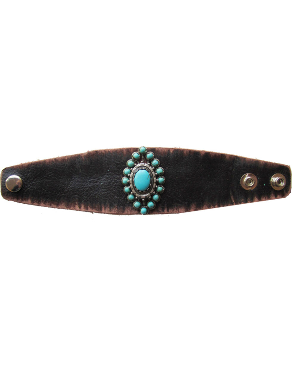 Cowgirl Confetti by AndWest Silver & Turquoise Concho Leather Cuff, Brown, hi-res