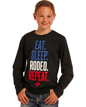 Rock & Roll Cowboy Boys' Black East Sleep Rodeo Repeat Tee , Black, hi-res