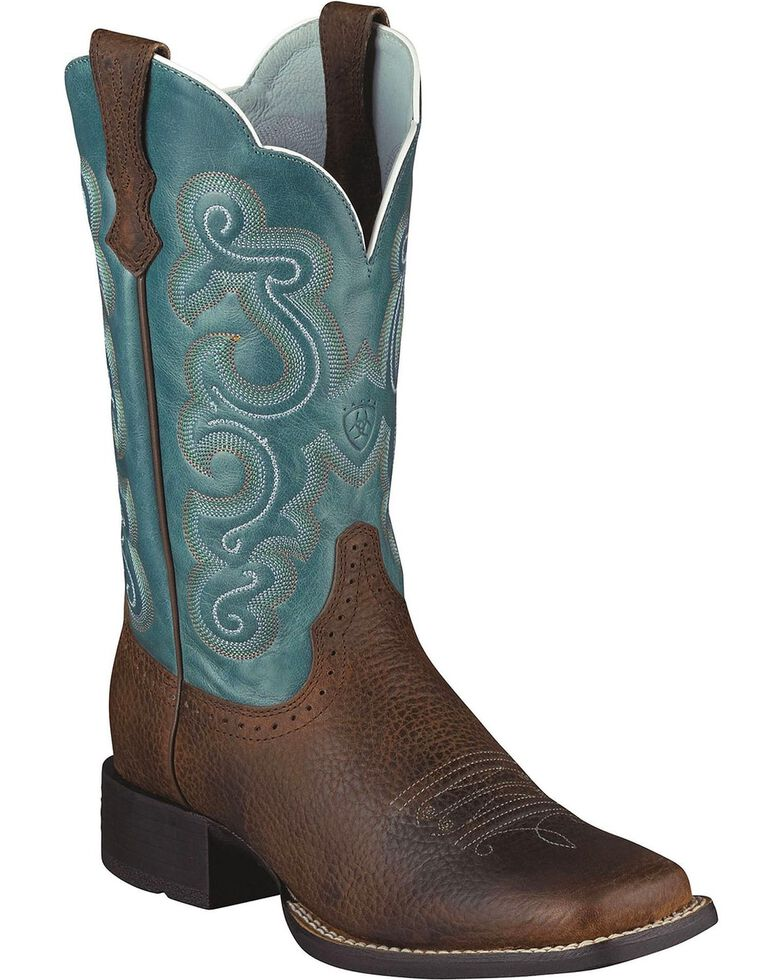 Ariat Women's Quickdraw Blue Fancy Stitched Cowgirl Boots - Square Toe, Brown, hi-res
