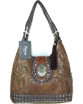 Savana Women's Fierce Tooled Design Conceal Carry Purse , Brown, hi-res