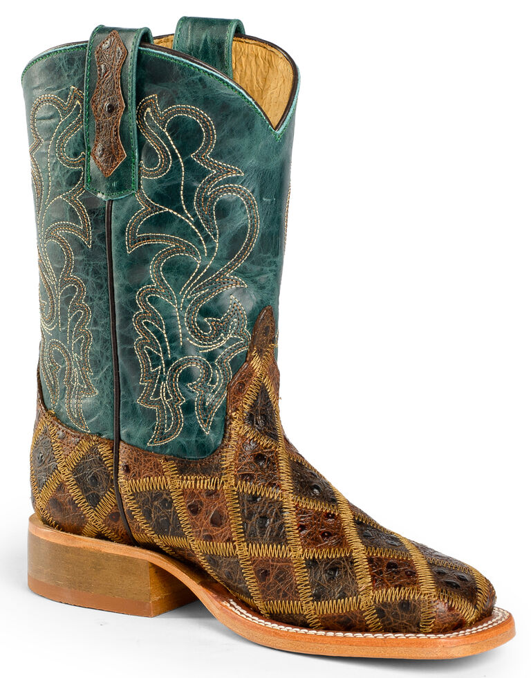 Anderson Bean Boys' Patchwork Angy Bird Cowboy Boots - Square Toe, Brown, hi-res